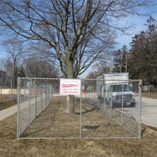 Temporary chain link fence panel rentals for tree protection