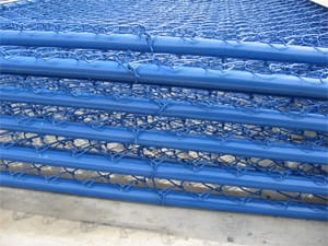 Blue custom chain link fence panels