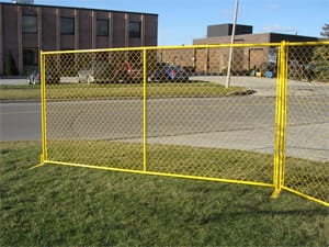 Temporary high visibility fence panel rentals for residential renovations