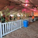 Attractive white picket panels for crowd control