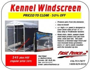 Kennel Windscreen