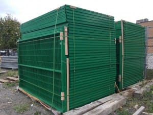 Green welded wire construction fence