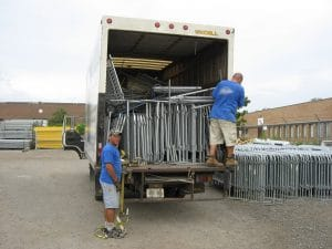 Bring a suitable vehicle for temporary fence pick ups