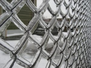 Icy chain link fence