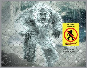 no yetis allowed temporary fence