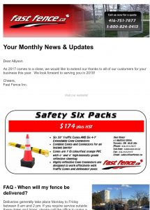 Fast Fence monthly e-newsletters