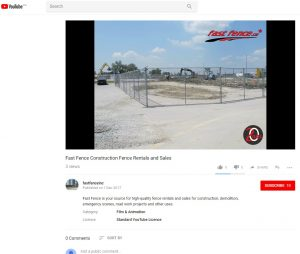 Fast Fence on YouTube construction fence rentals and sales