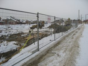 Temporary fence for construction winter