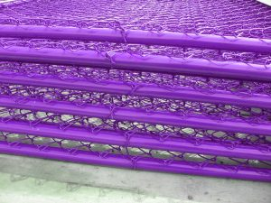 Temporary fence purple chain link