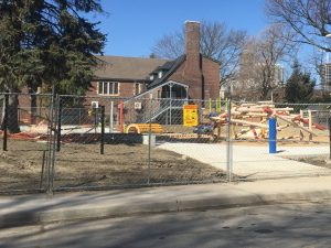 Temporary fence for playground construction