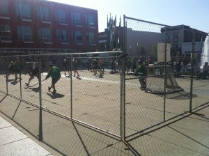 Temporary fence for special events hockey tournament