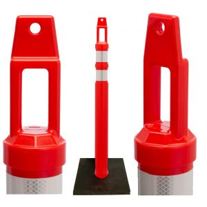 Traffic safety delineator posts with reflective bands