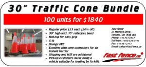 Traffic safety save with traffic cone bundles